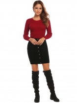 Noir Femmes Faux Suede Pull On Solid Button Pencil Jupe