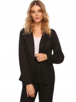 Black Notch Lapel Long Sleeve Open Front Solid Casual Work Blazer Jacket With Botton