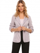 Light purple Notch Lapel Long Sleeve Open Front Solid Casual Work Blazer Jacket With Botton