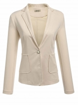 Khaki Women's Notch Lapel One Button Patchwork Elbow Slim Fit Casual Blazer