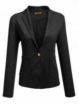 Black Women's Notch Lapel One Button Patchwork Elbow Slim Fit Casual Blazer