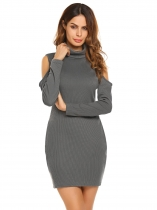 Grey High Neck Cold Shoulder Solid Pencil Dress