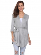 Grey Solid Asymmetrical Hem Cardigan with Belt