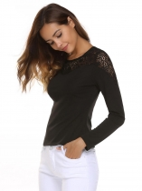 Black O-Neck Long Sleeve Lace Patchwork Button Slim Tops