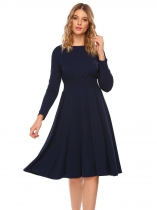 Navy blue Long Sleeve Solid Shirring Fit and Flare Dress