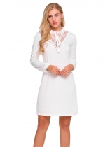 White Ruffles Neck Lace Patchwork Sheath Dress