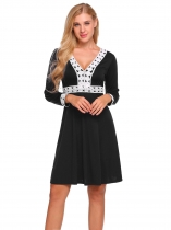 Black Contrast Trim Patchwork A-Line Dress