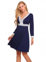 Dark blue Contrast Trim Patchwork A-Line Dress