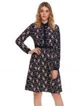 Navy blue Vintage Style Long Sleeve Floral Shirt Dress