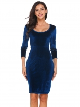 Blue Scoop Neck 3/4 Sleeve Solid Velvet Dress
