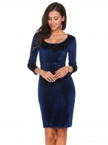 Navy blue Scoop Neck 3/4 Sleeve Solid Velvet Dress