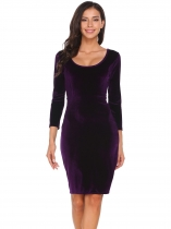Purple Scoop Neck 3/4 Sleeve Solid Velvet Dress