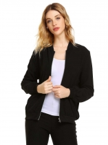 Black Long Sleeve Pocket Solid Front Zipper Jackets