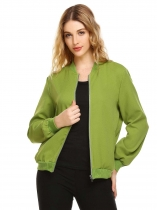Green Long Sleeve Pocket Solid Front Zipper Jackets