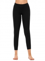 Black Elastic Waist Stretchy Solid Sport Slim Fit Leggings