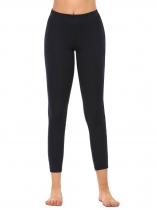 Navy blue Elastic Waist Stretchy Solid Sport Slim Fit Leggings