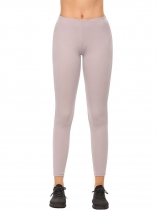 Gray Elastic Waist Stretchy Solid Sport Slim Fit Leggings