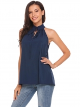 Navy blue Solid Lace-up Halter Sleeveless Keyhole Tank Tops