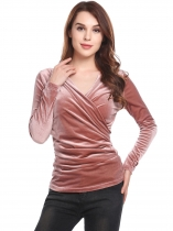 Misty Rose Women Casual Deep Crossing V-Neck Long Sleeve Side Ruffle Velvet Sexy Blouse Tops