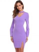 Light purple Women Sexy Flare Sleeve Solid Choker V-Neck Split Hem Bodycon Pencil Dress