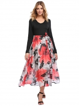 Red V-Neck Long Sleeve Floral Patchwork Belted Midi Dress