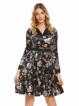 Black Women Fashion V-Neck Long Sleeve Floral High Waist A-Line Dress