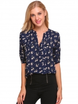 Navy blue Floral Print Loose V Neck Long Sleeve Blouse