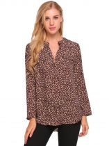 Wine red Floral Print Loose V Neck Long Sleeve Blouse