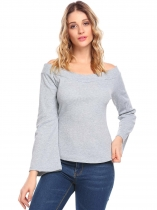 Grey Mulheres Casual Slash Neck Off the Shoulder Flare Sleeve Malha Sólida Camisola Sexy Blusa
