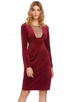 Wine red O-Neck Long Sleeve Velvet Mesh Patchwork See Through Dress