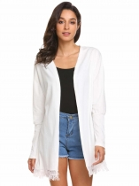 White Women's Batwing Sleeve Tassel Casual Loose Solid Cardigan