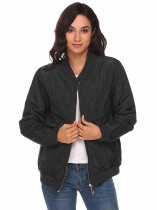 Black Lightweight Long Sleeve Zip Up Quilted Bomber Jacket
