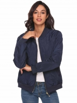 Dark blue Lightweight Long Sleeve Zip Up Quilted Bomber Jacket