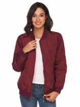 Wine red Lightweight Long Sleeve Zip Up Quilted Bomber Jacket