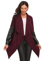Wine red Lapel Leather Patchwork Open Front Irregular Wool Blend Trench Coat with Belt