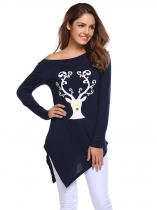 Navy blue Print Long Sleeve O Neck Hankerchief Hemline Tops