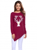Wine red Print Long Sleeve O Neck Hankerchief Hemline Tops