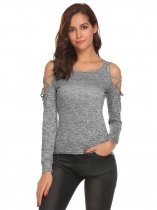 Dark gray Women Sexy Cold Shoulder Cut Out Long Sleeve Slim Fit T-Shirt Tops
