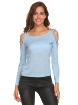Light blue Women Sexy Cold Shoulder Cut Out Long Sleeve Slim Fit T-Shirt Tops