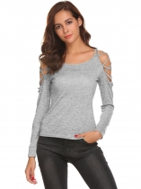 Light gray Women Sexy Cold Shoulder Cut Out Long Sleeve Slim Fit T-Shirt Tops