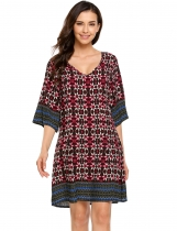 V-Neck 3/4 Sleeve Print Flared A-Line Dress