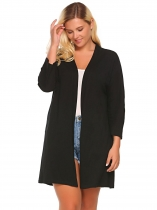 Black Plus Size Batwing Long Sleeve Solid Open Front Long Cardigan