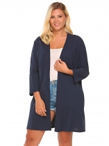 Blue Plus Size Batwing Long Sleeve Solid Open Front Long Cardigan