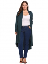 Dark green Plus Size Long Sleeve Solid Draped Open Front Asymmetrical Cardigan