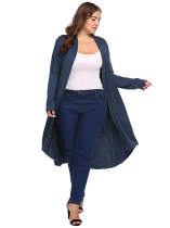 Navy blue Mulheres Plus Size Long Sleeve Solid Drapeado Open Front Asymmetrical Cardigan