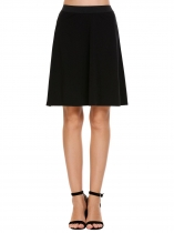 Black Elastic High Waist Solid Skirts