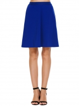 Navy blue Elastic High Waist Solid Skirts