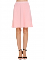 Pink Elastic High Waist Solid Skirts