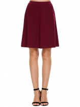Wine red Elastic High Waist Solid Skirts