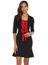 Black Vintage estilo Lapel Button mitad de la manga Bow Partido trabajo Bodycon Fishtail Dress